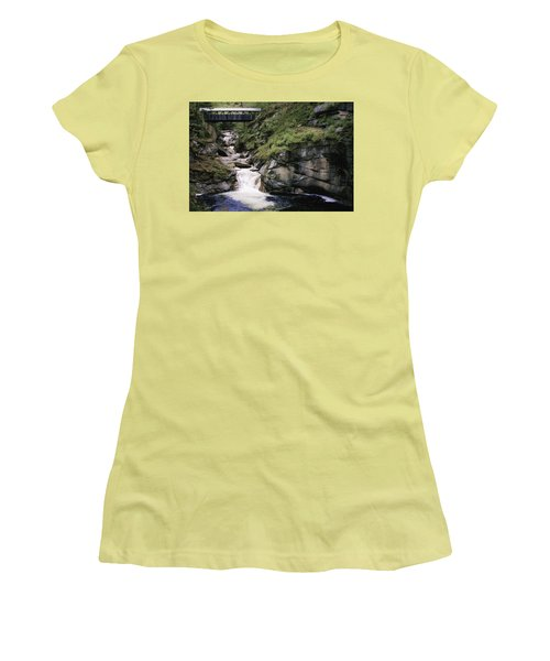 Vintage Covered Bridge And Waterfall Women's T-Shirt (Athletic Fit)