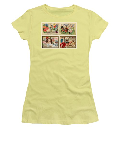 Vintage Flower Seed Packets Women's T-Shirt (Junior Cut) by Peggy Collins