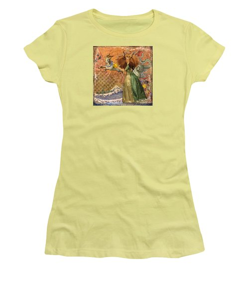 Vintage Golden Woman Capricorn Gothic Whimsical Collage Women's T-Shirt (Junior Cut) by Mary Hubley