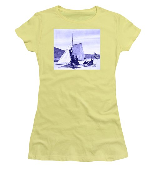 Women's T-Shirt (Athletic Fit) featuring the painting Vintage Ladies And Gentlemen Sail On The Desert Queen by Marian Cates