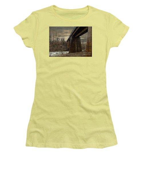 Women's T-Shirt (Junior Cut) featuring the photograph Vintage Railroad Trestle by Melissa Messick