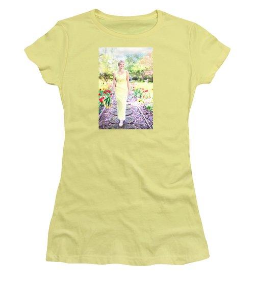 Vintage Val In Tulips Women's T-Shirt (Junior Cut) by Jill Wellington