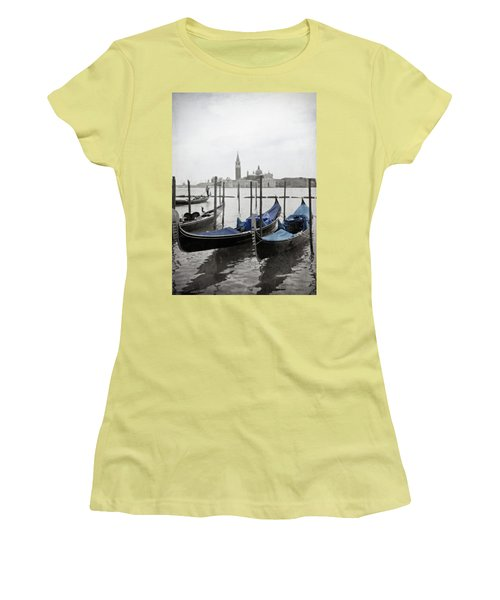 Vintage Venice In Black, White, And Blue Women's T-Shirt (Junior Cut) by Brooke T Ryan
