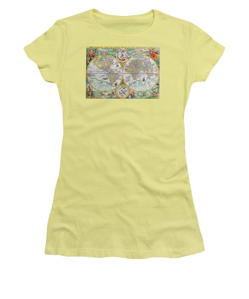 Women's T-Shirt (Junior Cut) featuring the photograph Vintage World Map by Peggy Collins