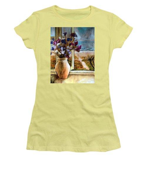 Violet Beach Flowers Women's T-Shirt (Junior Cut) by Winsome Gunning