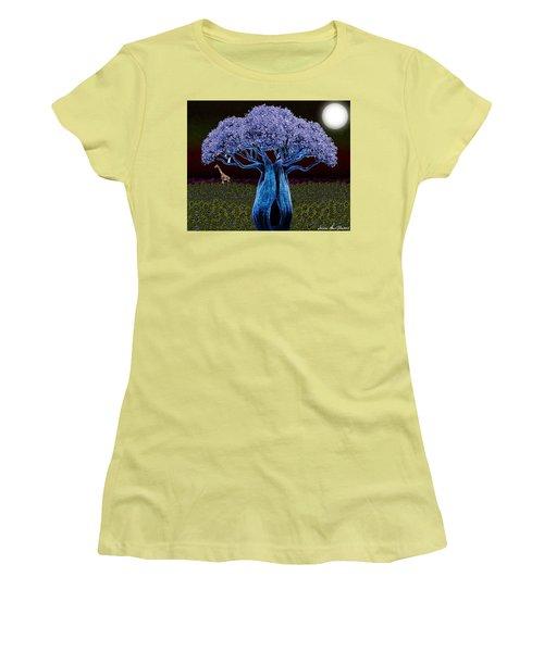 Women's T-Shirt (Junior Cut) featuring the digital art Violet Blue Baobab by Iowan Stone-Flowers