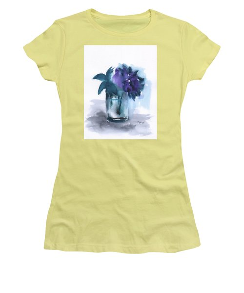 Violets In A Glass Abstract Women's T-Shirt (Junior Cut) by Frank Bright