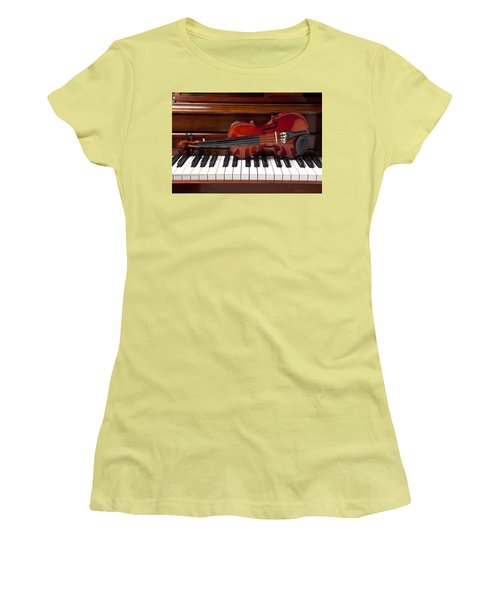 Violin On Piano Women's T-Shirt (Junior Cut) by Garry Gay