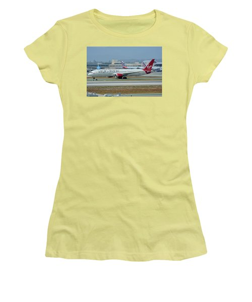 Women's T-Shirt (Junior Cut) featuring the photograph Virgin Atlantic Boeing 787-9 G-vzig Los Angeles International Airport May 3 2016 by Brian Lockett