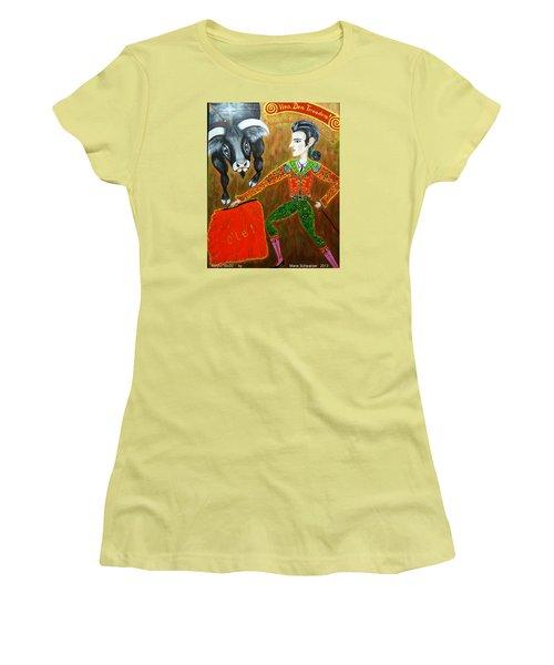 Women's T-Shirt (Junior Cut) featuring the painting Viva Don Toreadore by Marie Schwarzer