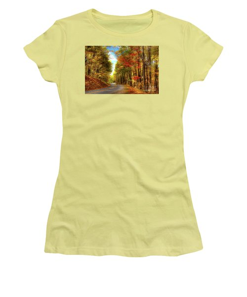 Women's T-Shirt (Junior Cut) featuring the painting Vivid Autumn In The Blue Ridge Mountains Ap by Dan Carmichael