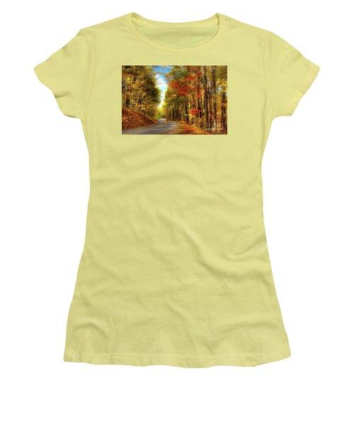 Vivid Autumn In The Blue Ridge Mountains Ap Women's T-Shirt (Junior Cut)