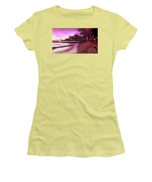 Women's T-Shirt (Junior Cut) featuring the photograph Waikiki Twilight by Kristine Merc