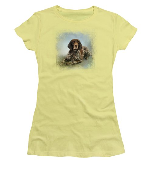 Waiting For A Cue - German Shorthaired Pointer Women's T-Shirt (Junior Cut) by Jai Johnson