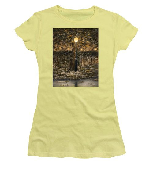 Women's T-Shirt (Junior Cut) featuring the painting Waiting For The Snow by Veronica Minozzi