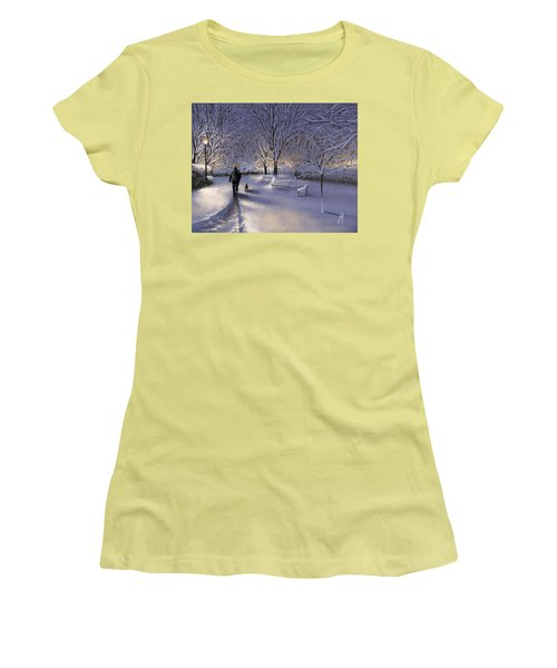 Women's T-Shirt (Junior Cut) featuring the painting Walking In The Snow by Veronica Minozzi