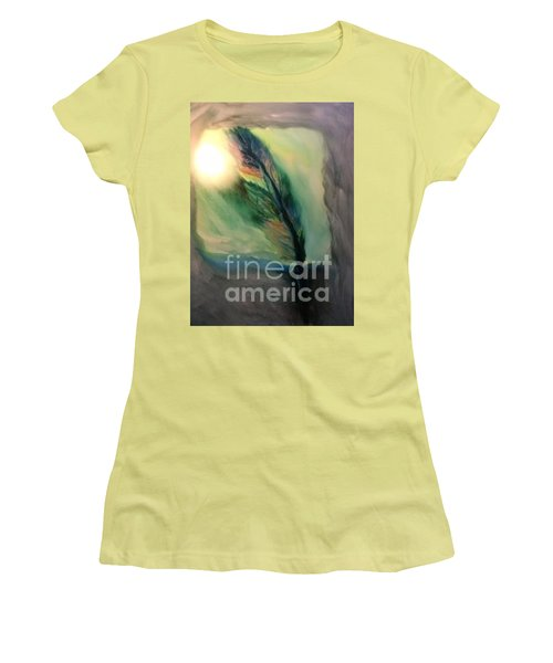 Women's T-Shirt (Junior Cut) featuring the painting Walking In Your Light  by FeatherStone Studio Julie A Miller