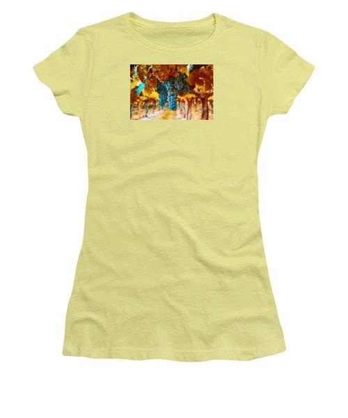 Women's T-Shirt (Junior Cut) featuring the photograph Walking Through The Grapes by Lynn Hopwood