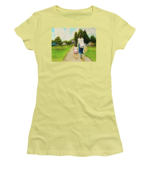 Women's T-Shirt (Junior Cut) featuring the drawing Walking To The Shrine by Tim Ernst