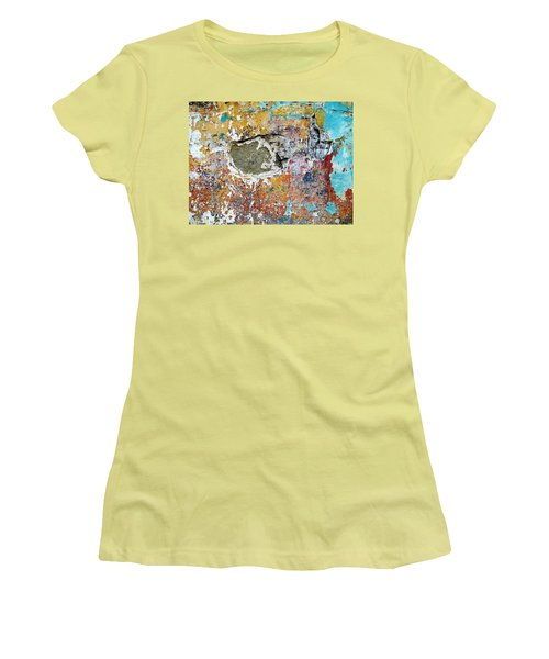 Women's T-Shirt (Junior Cut) featuring the photograph Wall Abstract 196 by Maria Huntley