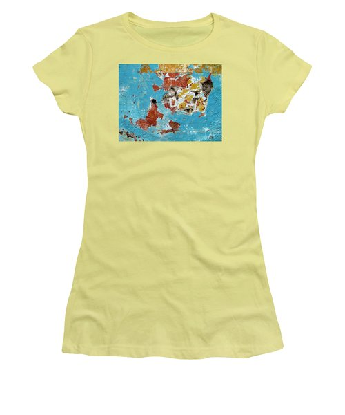 Women's T-Shirt (Junior Cut) featuring the photograph Wall Abstract 99 by Maria Huntley