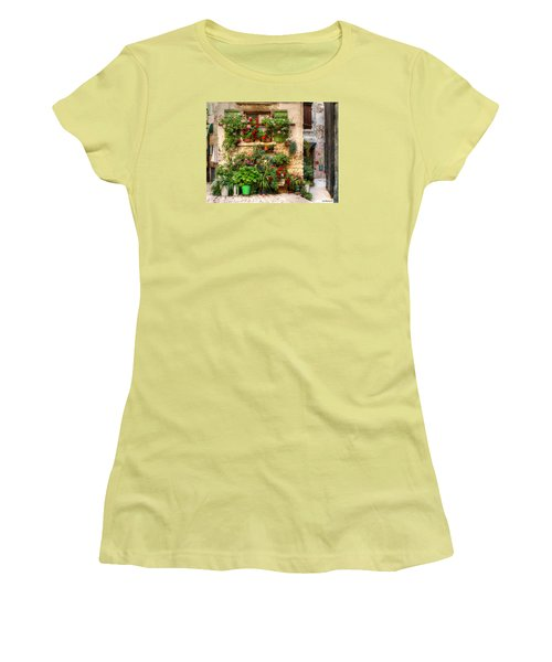 Women's T-Shirt (Junior Cut) featuring the photograph Wall Of Flowers by Uri Baruch