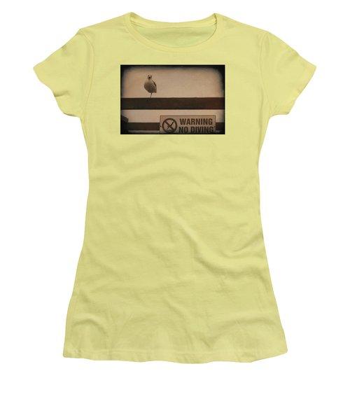 Warning No Diving 2 Women's T-Shirt (Junior Cut) by Ernie Echols