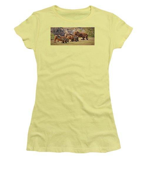 Warthogs Doing Lunch Women's T-Shirt (Junior Cut) by Joe Bonita