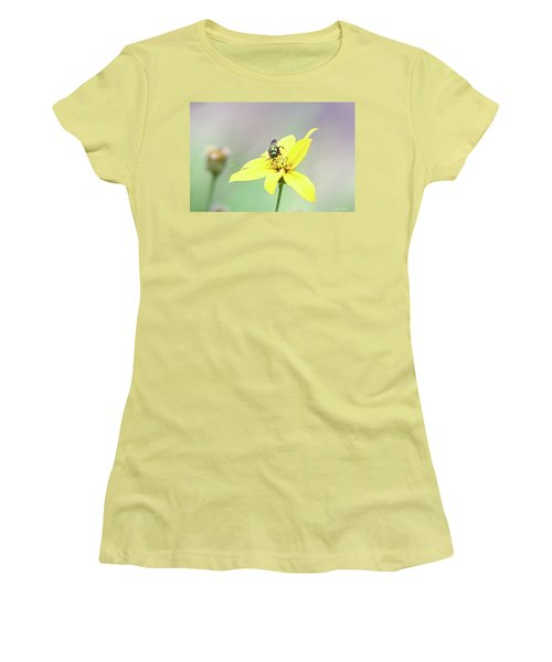 Women's T-Shirt (Athletic Fit) featuring the photograph Wasp On Coreopsis by Trina Ansel