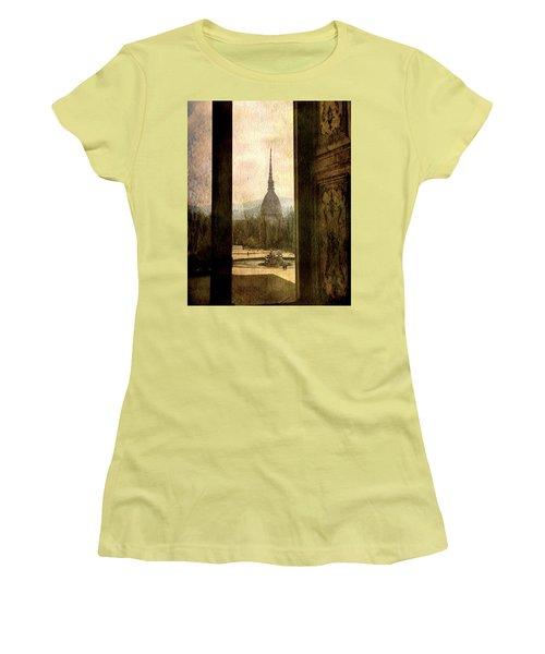 Watching Antonelliana Tower From The Window Women's T-Shirt (Junior Cut) by Vittorio Chiampan