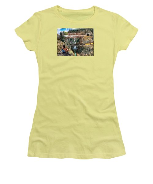 Women's T-Shirt (Junior Cut) featuring the painting Watching The World Go By by Michael Cleere