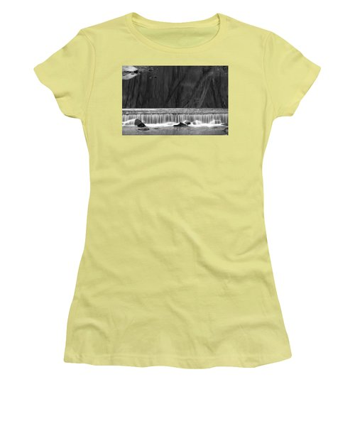 Water Fall In Black And White Women's T-Shirt (Athletic Fit)