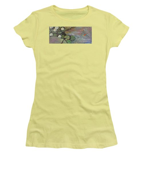 Women's T-Shirt (Athletic Fit) featuring the painting Water Lilies Late Afternoon by Marlene Book