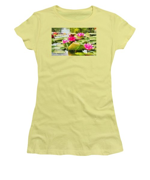 Women's T-Shirt (Junior Cut) featuring the painting Water Lilies by Maciek Froncisz