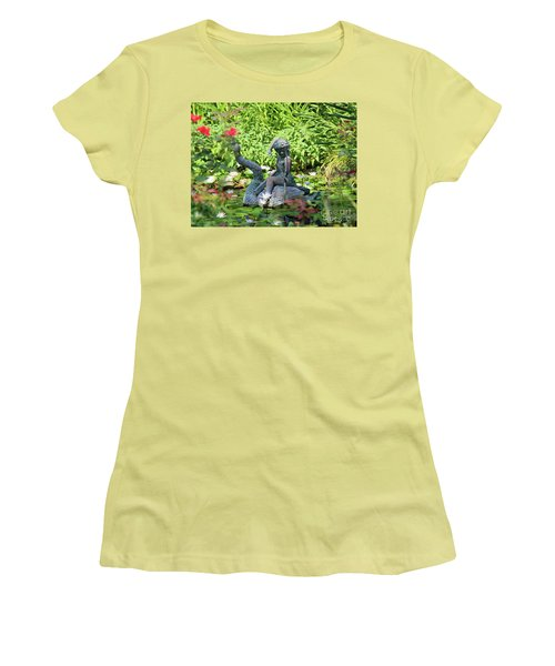 Water Lilly Pond Women's T-Shirt (Junior Cut) by Inspirational Photo Creations Audrey Woods