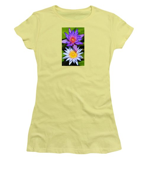 Women's T-Shirt (Junior Cut) featuring the photograph Water Lily Blossoms by Kerri Ligatich