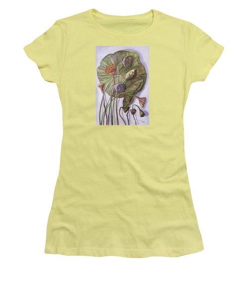 Water Lily Seed Pods Framed By A Leaf Women's T-Shirt (Junior Cut) by Randy Burns