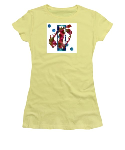 Women's T-Shirt (Junior Cut) featuring the painting Watercolor Abstract 1 by Kandy Hurley