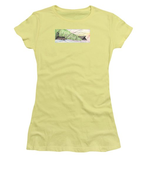 Women's T-Shirt (Junior Cut) featuring the painting Watercolor Barn by Darren Cannell