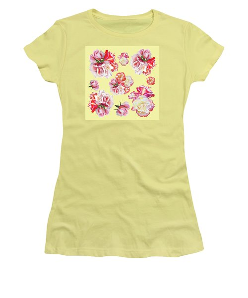 Women's T-Shirt (Athletic Fit) featuring the painting Watercolor Roses Golden Dance by Irina Sztukowski