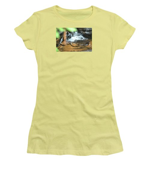 Waterfall And Pool On Soap Creek Women's T-Shirt (Junior Cut) by James Potts
