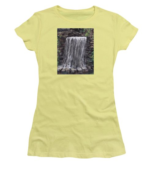 Waterfall At Longfellow's Gristmill Women's T-Shirt (Junior Cut) by Jack Skinner