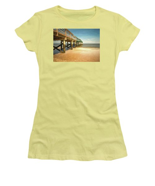 Women's T-Shirt (Athletic Fit) featuring the photograph Waterfront Park Pier 1 by Gary Slawsky