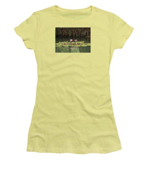 Waterlilies And Cyprus Knees Women's T-Shirt (Junior Cut) by Linda Geiger