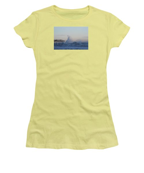 Wave Towers Over Oc Fishing Pier Women's T-Shirt (Athletic Fit)
