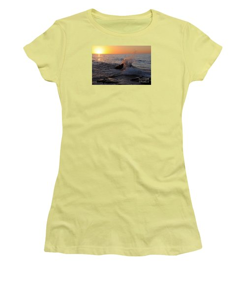Women's T-Shirt (Junior Cut) featuring the photograph Waves At Sunrise by Sandra Updyke