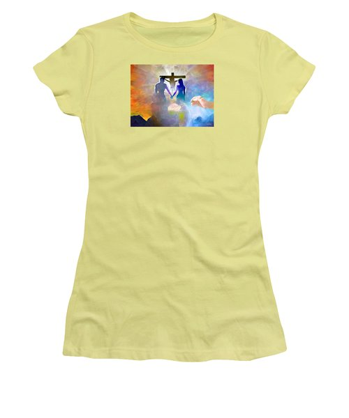 Women's T-Shirt (Junior Cut) featuring the painting We Are God's Masterpiece by Wayne Pascall