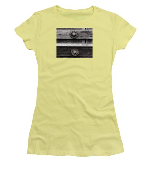 Women's T-Shirt (Junior Cut) featuring the photograph Weathered Wood And Metal Five by Kandy Hurley