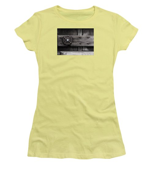 Women's T-Shirt (Junior Cut) featuring the photograph Weathered Wood And Metal Four by Kandy Hurley