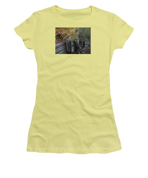 Weathered Wood In Autumn Women's T-Shirt (Junior Cut) by Cedric Hampton